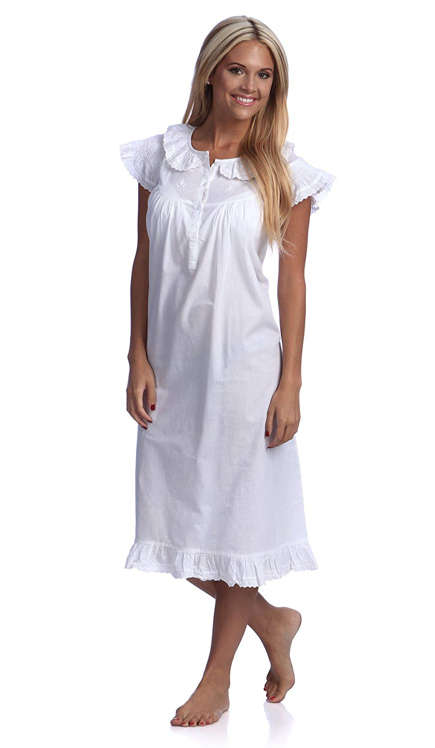 daa1b46f49 Get Quotations · stylesilove Handmade White Embroidered Eyelet Accent Cotton  Night Dress Sleepwear Nightgown