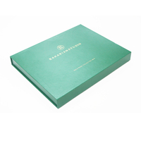Private Label Luxury Green Color Matt Gold Foil Book Shaped Gift Set Box Packaging for Cosmetics
