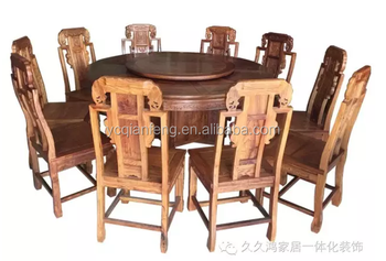 Luxury Solid Wood Dining Table Chairs Set With Carving