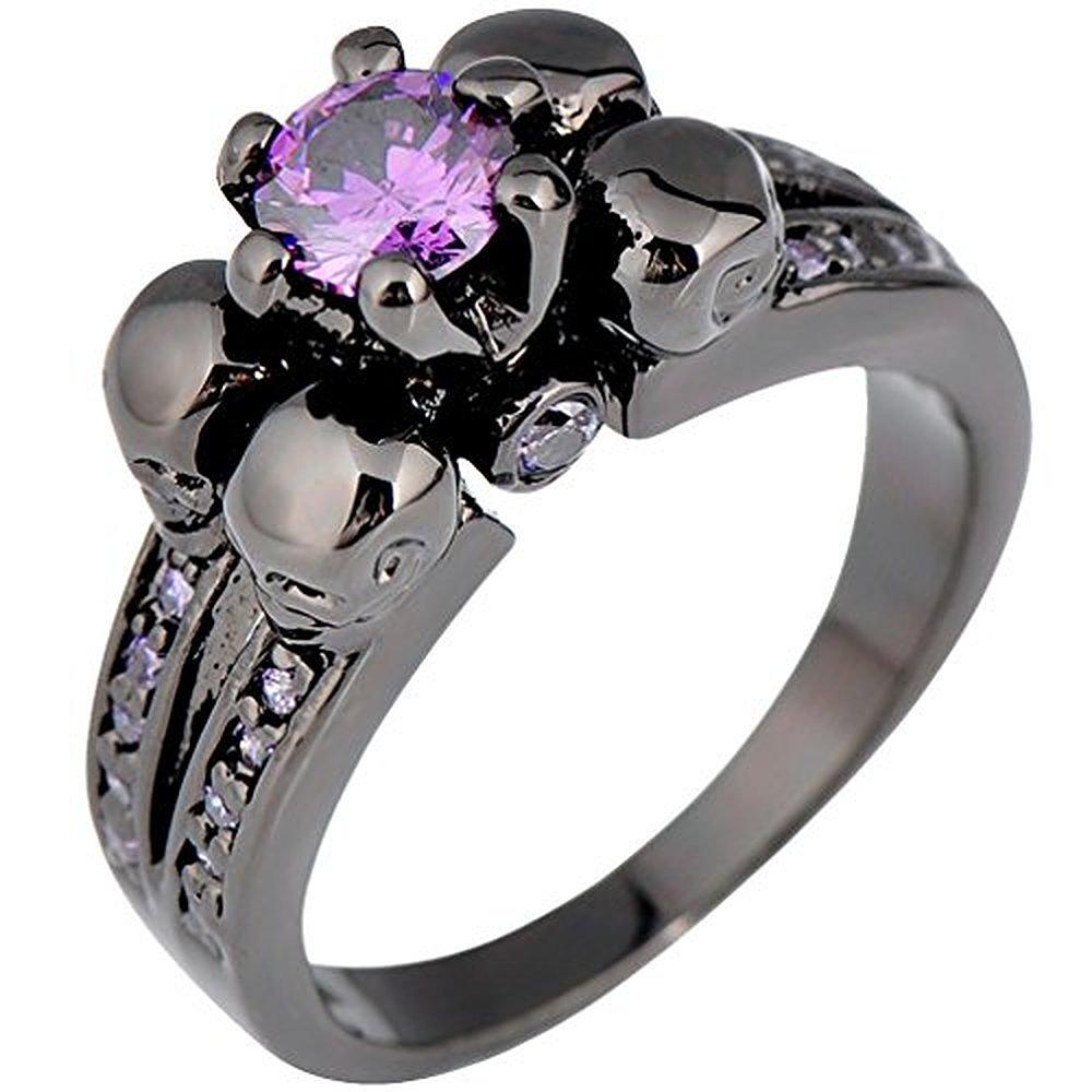 Sugar Memory Purple Sapphire Black Skull Jewelry Women/Men Amethyst Ring Anel Aneis Black Gold Filled Zircon Rings for Halloween Party