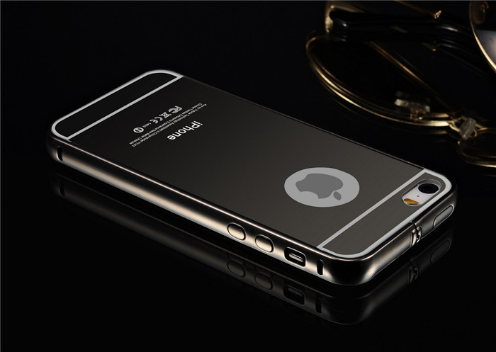 New Products 2015 Gold Silver Black Royal Luxury Mirror Case For IPhone 5 Metal Bumper