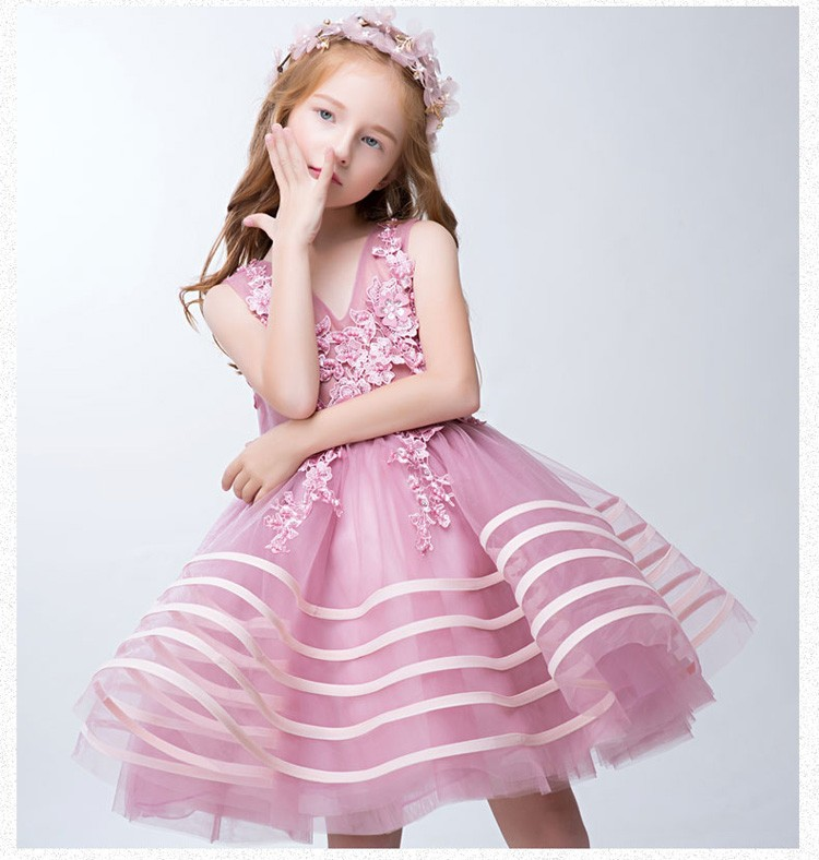 Pink  Flower Girl Dresses Communion Party Prom Princess Pageant Bridesmaid Gown