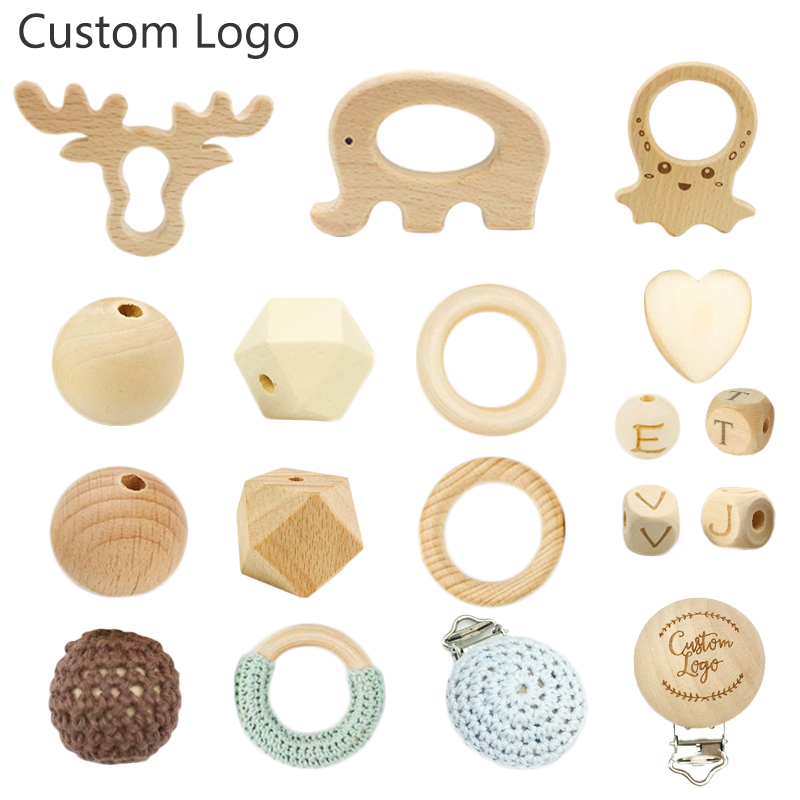 12mm Polished Natural Wood Chewable Beech Loose Beads for Baby Teething