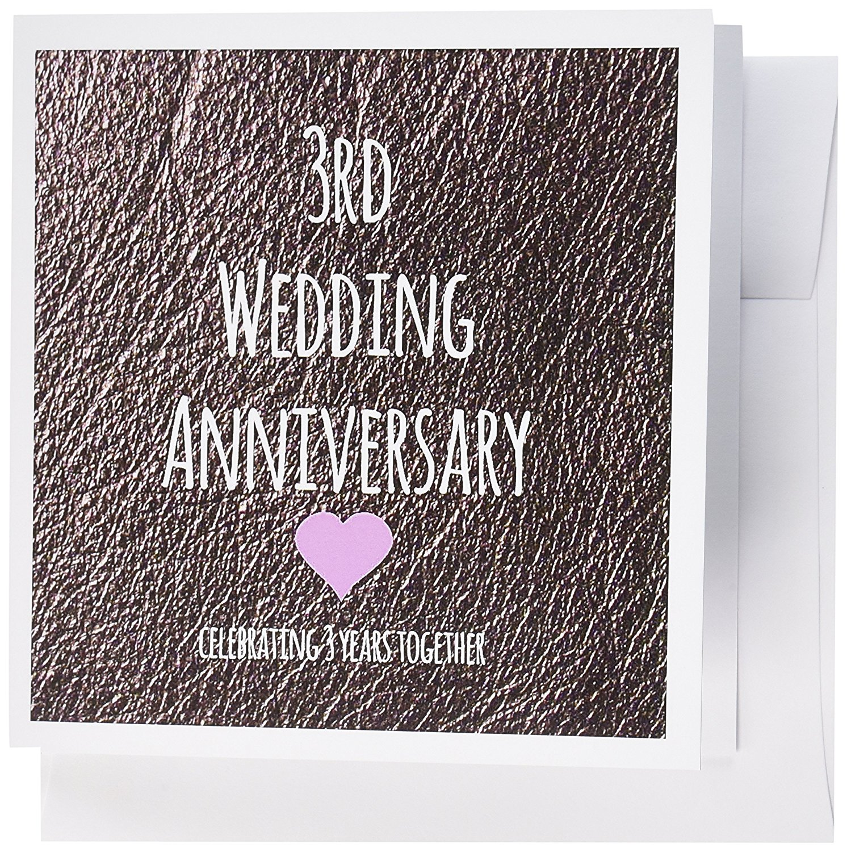 Buy 3drose 3rd Wedding Anniversary Gift Leather Celebrating 3