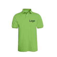 Dyed Light Green Button Placket Lapel Collar Polo Shirts With Logo Print