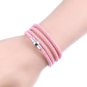 Women Fashion Magnetic Buckle WrapHand-woven Four Ring Braided Rope Wristband Stretch Bracelet