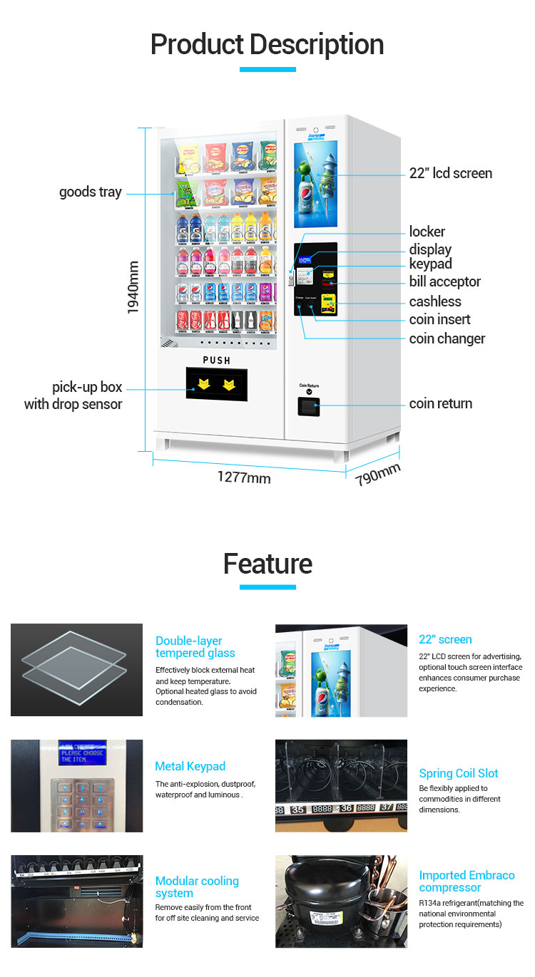 ZG Touch Screen Vending Machine with 22 inch Screen