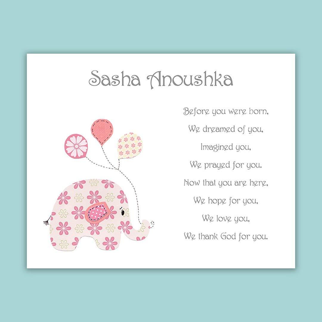 Baby Girl Gift -Baptism Gift - Personalized - Christening Gift for Godchild - Elephant - Baby Shower - Balloons - Pink - Rose Pink - Nursery Art - Dedication - Baptism Gift from Godparents - PRINT
