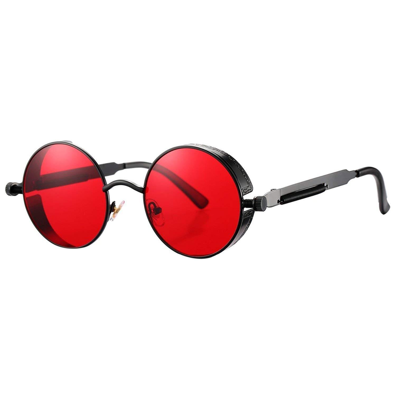 a3ff17b4c2 Get Quotations · Retro Steampunk Round Sunglasses for Men Women John Lennon  Vintage Gothic Circle Sun Glasses