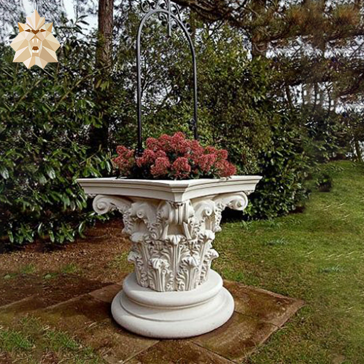 European antique Roman column style square natural white stone marble flower pot