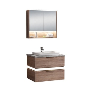 Low price l shape luxury wash basin mirror bathroom vanity kit