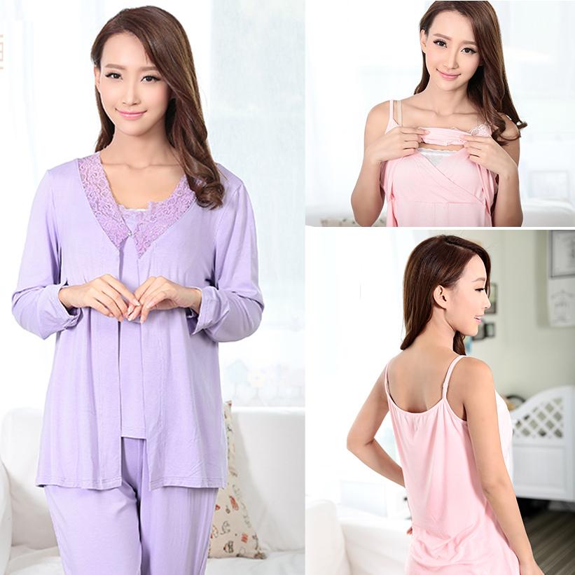 Оптовая продажа горячая распродажа новое поступление мода стиль корейский беременным одежда для беременных пижамы кормление пижамы уход пижамы 3