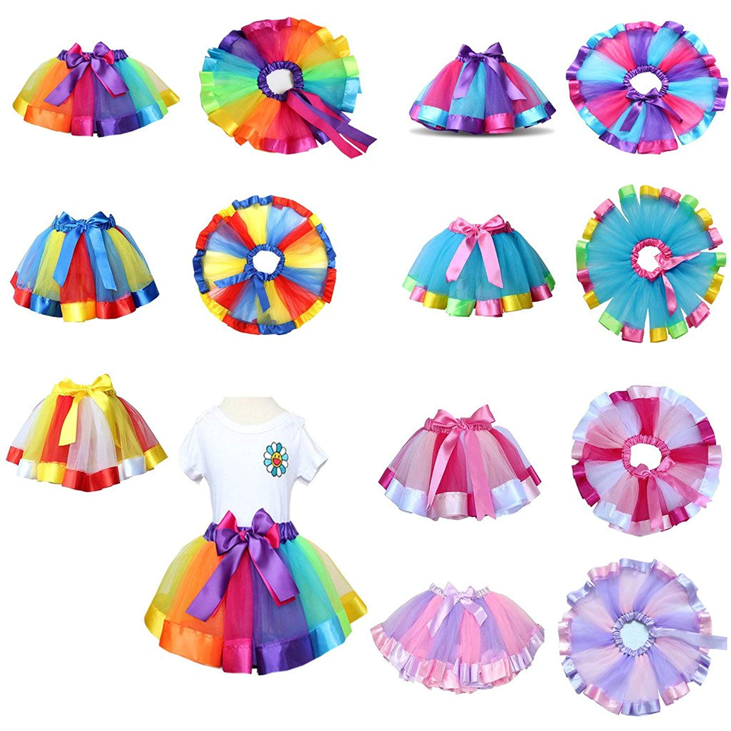 GBSELL Girls Kids Rainbow Pettiskirt Bowknot Skirt Tutu Dress Dancewear