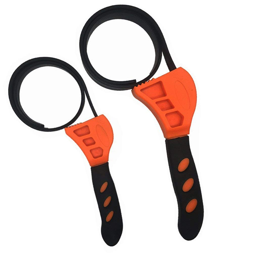 2 Piece Rubber Strap Adjustable Wrenches, Multi Tool Universal Wrench Use for Any Shape Opener Tool, Car Repair Tools, Oil Filter Wrench Set, Pipe Wrench, by Mechanics, Plumbers