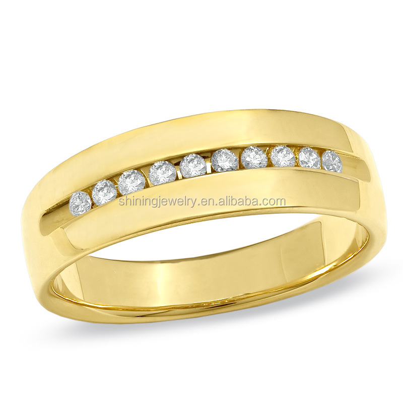 channel setting solid silver 925 18k gold wedding
