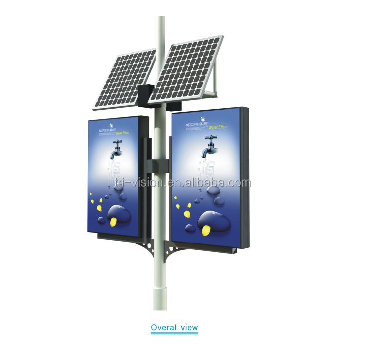 Double sides ip65 solar Powered outdoor advertising sign light box