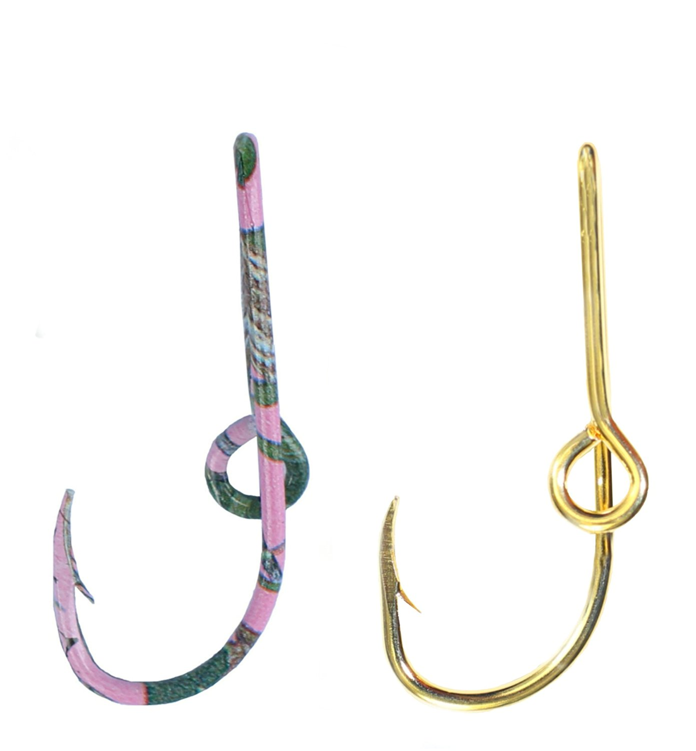 Two Eagle Claw Pink & Camo and Gold Hat Hook Fish hook for Hat Fish Hook Money/Tie Clasp - Set of Two Hooks one Pink & Camo and one Gold