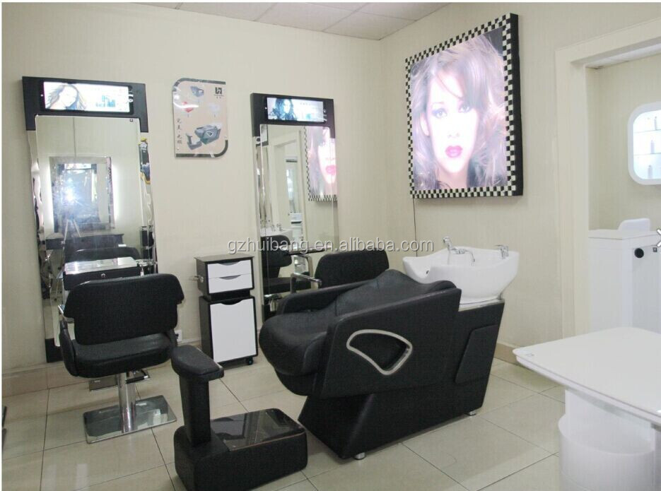 Top quality salon mirror station with trolley hairdressing for Beauty salon mirrors with lights