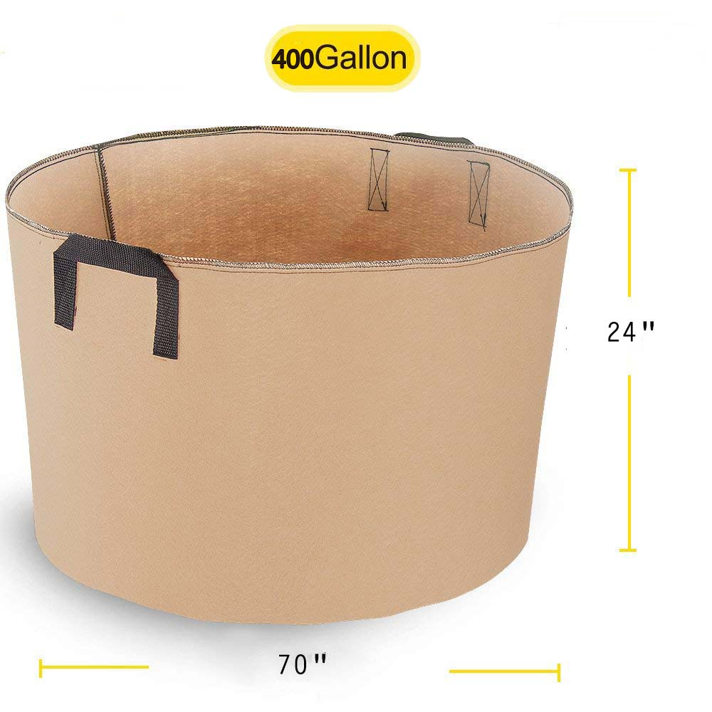 400 Gallon Garden Grow Bags Portable Durable Big Home Farm Planter Planting Bag PE Tub Pouch Handles Access Flap Soil Container