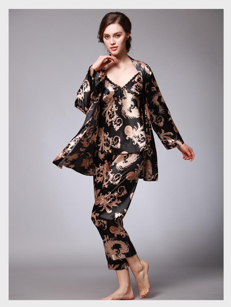 2019 Wholesale Luxury Chinese Dragon Pajama Sets Silk Satin Pajamas ... c6024e162