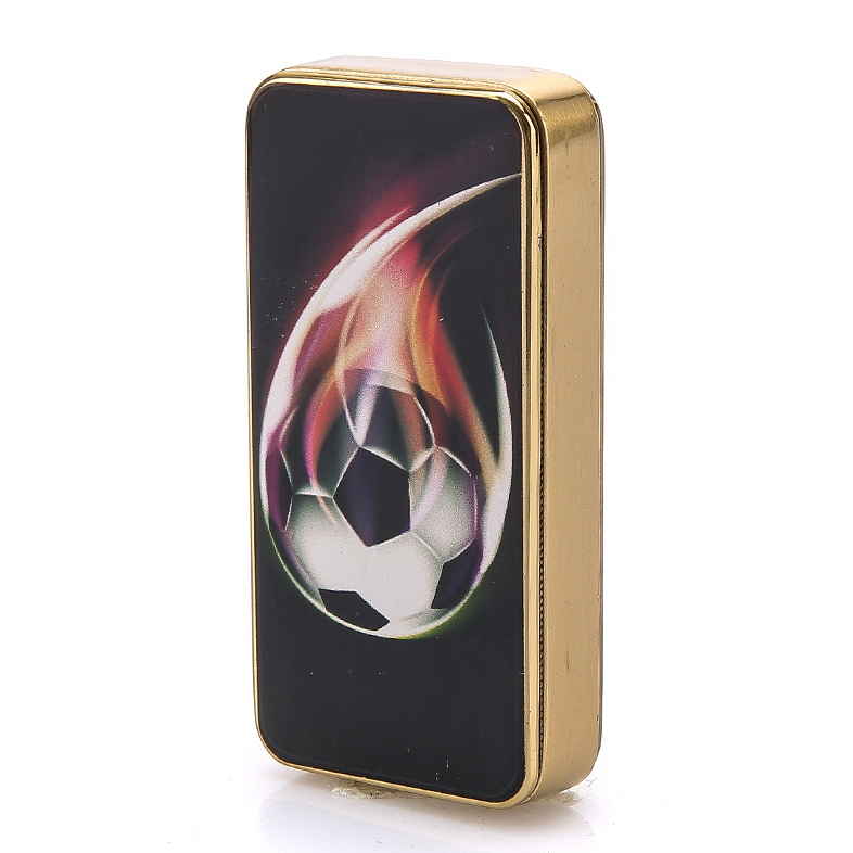 Print Football Electronic Cigarette-lighter for Smoke,Windproof Gold Metal USB Lighters,Novelty Gadget USB Lighter for Cigarette