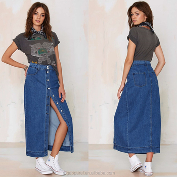 e42bbb55c1 New style button-down front with slit wholesale long Maxi Denim Skirt for  women