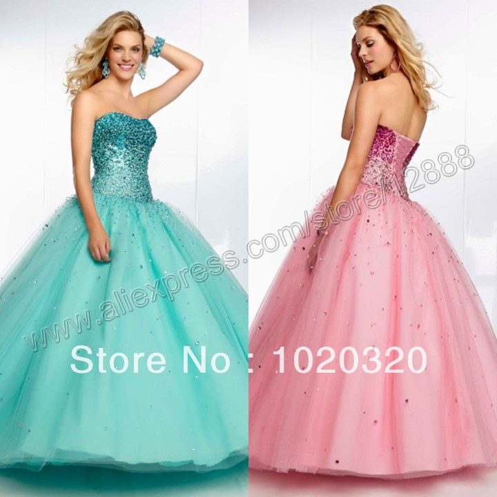 Ombre Beaded Tulle Ball Gown Strapless Prom Dress Gowns ...