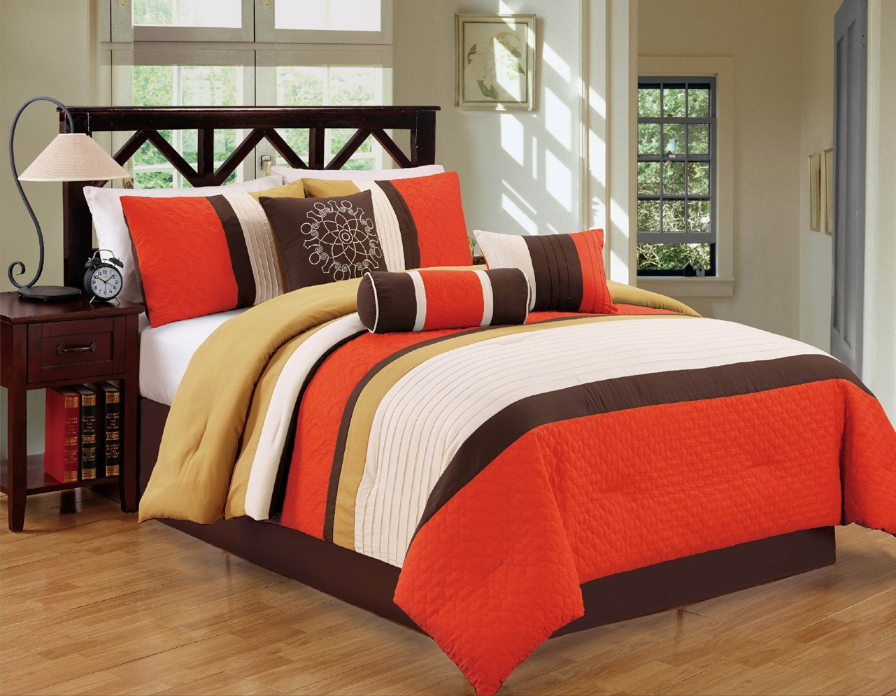 Buy Modern 7 Piece Bedding Orange Brown White Pin Tuck Emboidered King Comforter Set With Accent Pillows In Cheap Price On Alibaba Com