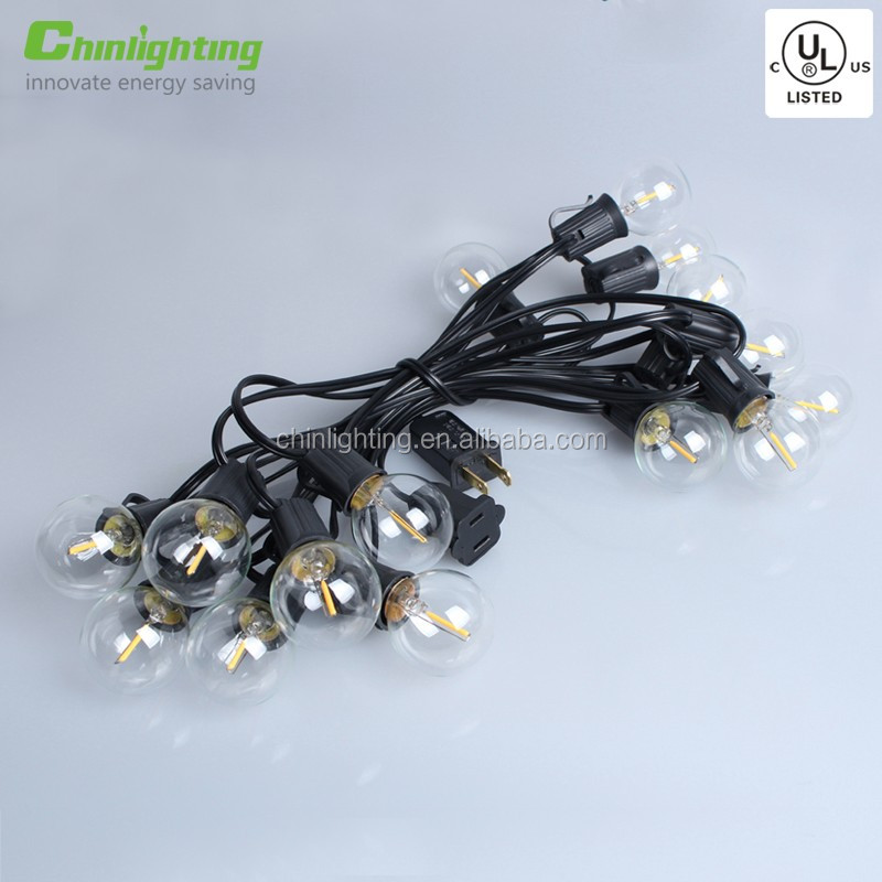 5.5m G40 Globe String Lights with Clear LED Bulbs, Energy Saving Patio Lights for Bistro Pergola Tents Market