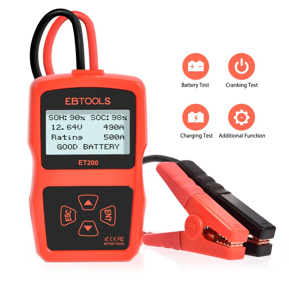 Car Battery Tester ,EBTOOLS 12V 100-2400 CCA 220AH Battery Digital Analyzer with Cranking Test,Charging Test,Battery Test,Automotive Load Battery Analyzer Tool for Car / Boat / Motorcycle/SUV/ATV