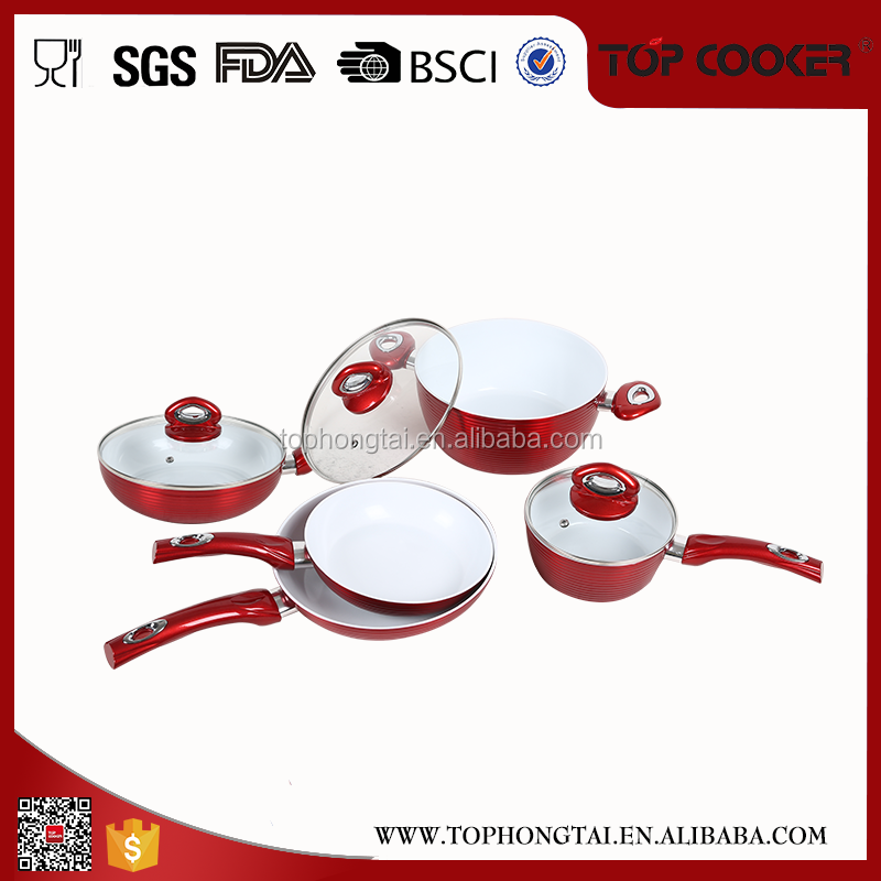 Hot sale red color Five star cookware sets kitchen