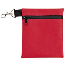 Sports Premium Red Polyester Golf Tee Pouch Zipper Golf Accessory Bag