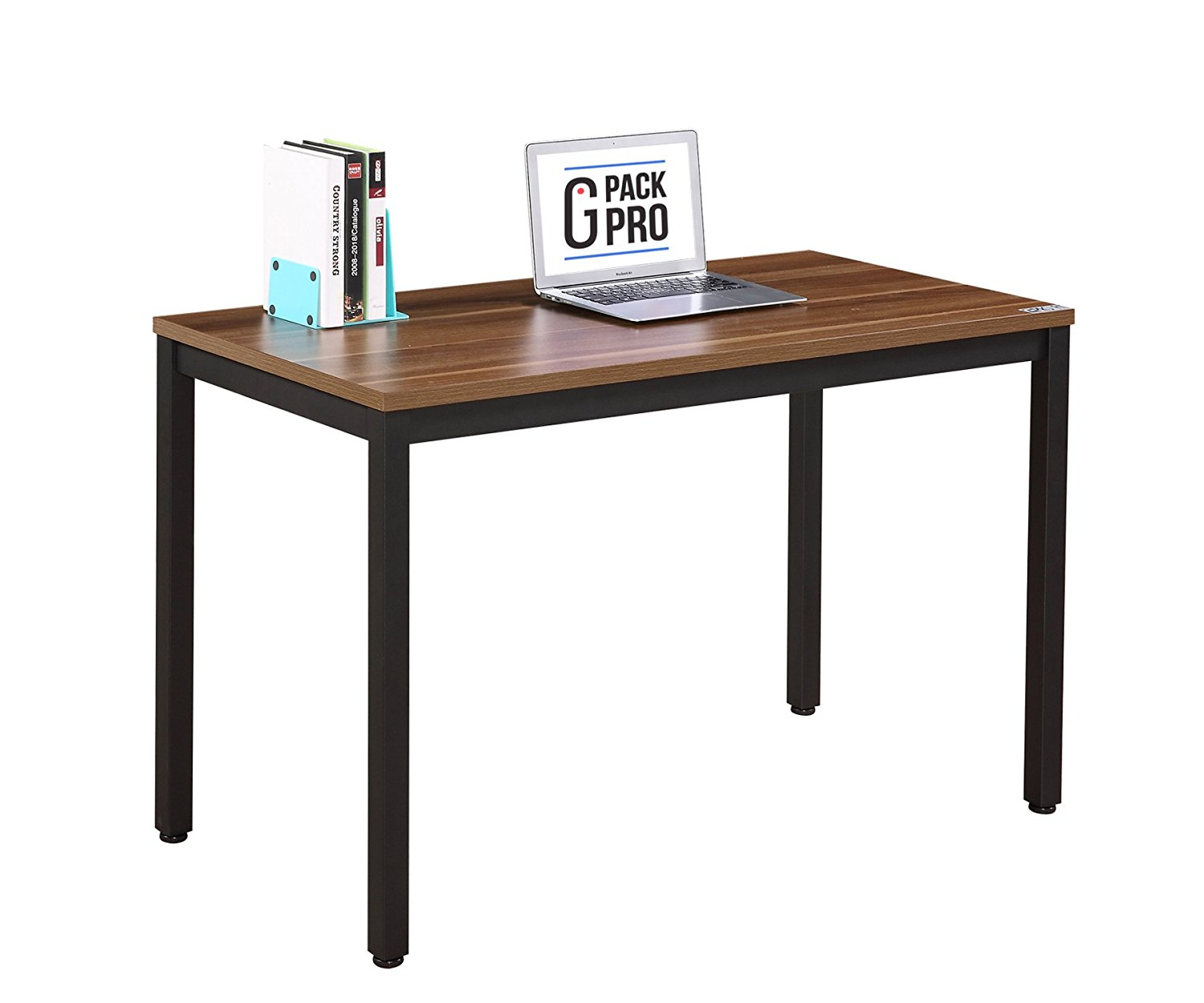 """G-Pack Pro Home & Office Computer Desk 55 inch – Adjustable Working, Secretary, Reception, Writing & Conference Table Furniture – Wood Panel With Glossy Finish & Sturdy Metal Frame (55"""", Dark Walnut)"""