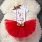 Hao Baby New Girls Birthday Clothes Suit English Pattern Shirt Mesh Skirt Baby Girl Summer Clothes