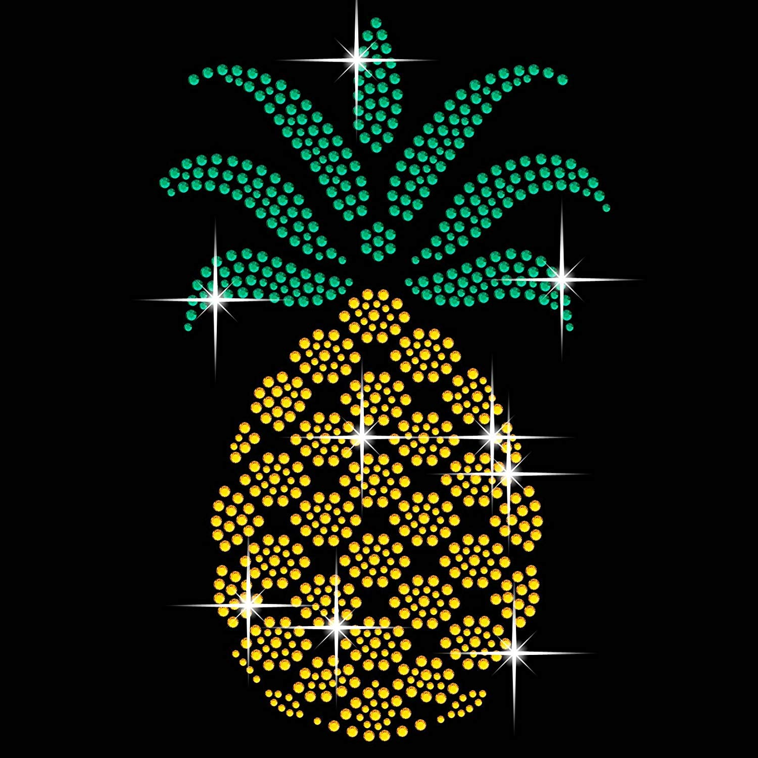 Get Quotations · Pineapple Diamante Transfer Iron On Hotfix Gem Crystal  T-Shirt Motif 4a9539412009