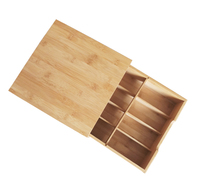 Bamboo Wood Adjustable Organizer Coffee Tea Bag Storage Box