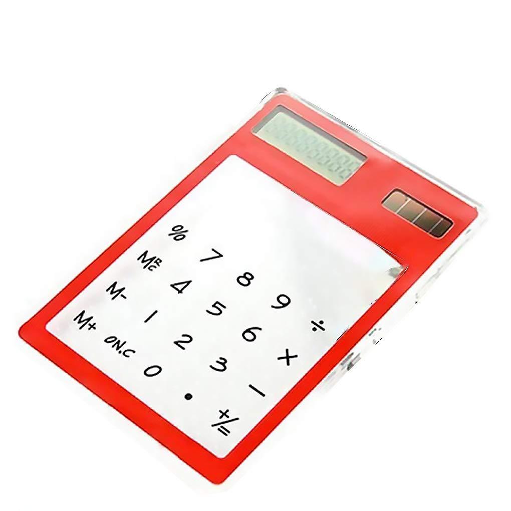KOROWA Multi Colors Transparent Touching Screen Energy Saving Solar 8 Bit Display Mini Calculator red