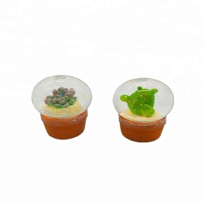 Hot Sell Creative Pot Plant Snow Globe Succulent mini snow globes wholesale in Resin Craft for Home Decoration