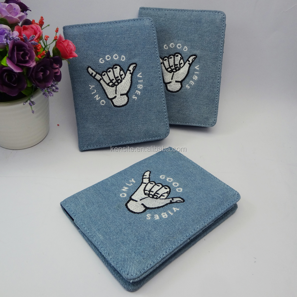 2017 new arrival customized embroidery denim fabric passport cover
