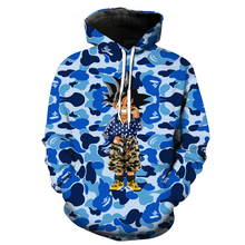 Drop Shipping OEM Custom 3D Printing trui fashion oversize Blauw polyester lange mouw heren custom <span class=keywords><strong>camo</strong></span> hoodie met eigen logo