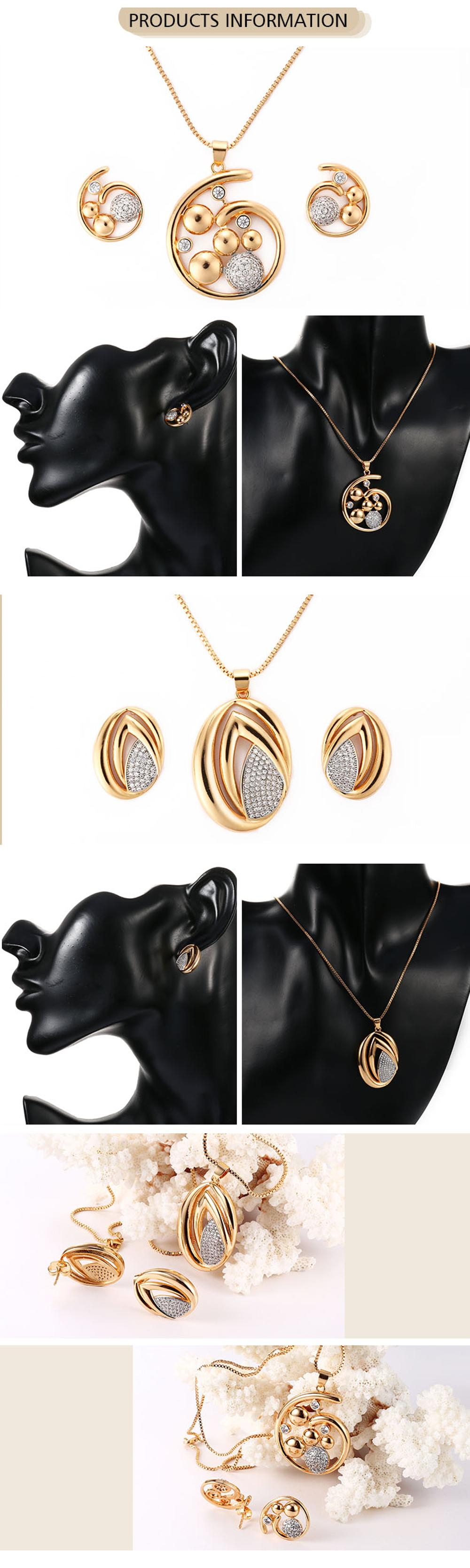 2018 Trending Products Ladies 18K Gold Plated Zircon Gold Jewelry Set