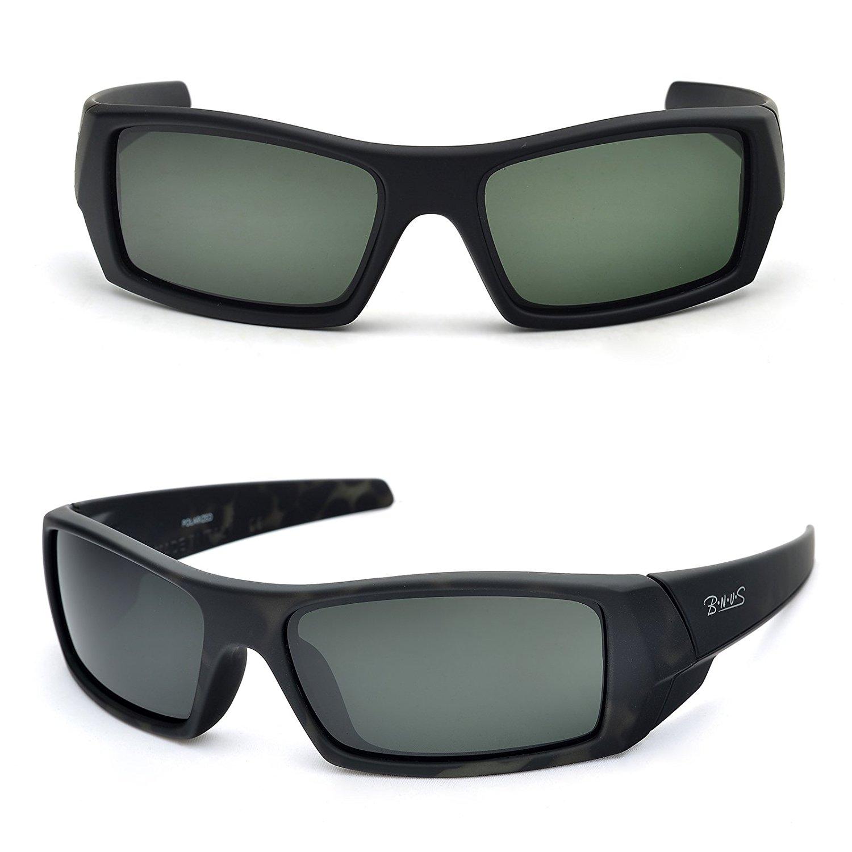 d6363ffa72 Get Quotations · BNUS Ranger Rectangular Sports Polarized Sunglasses for men  Corning natural glass lenses (Frame  Dark