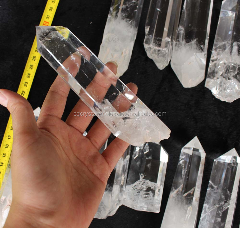 natural high quality rock crystal point, rough raw crystal point
