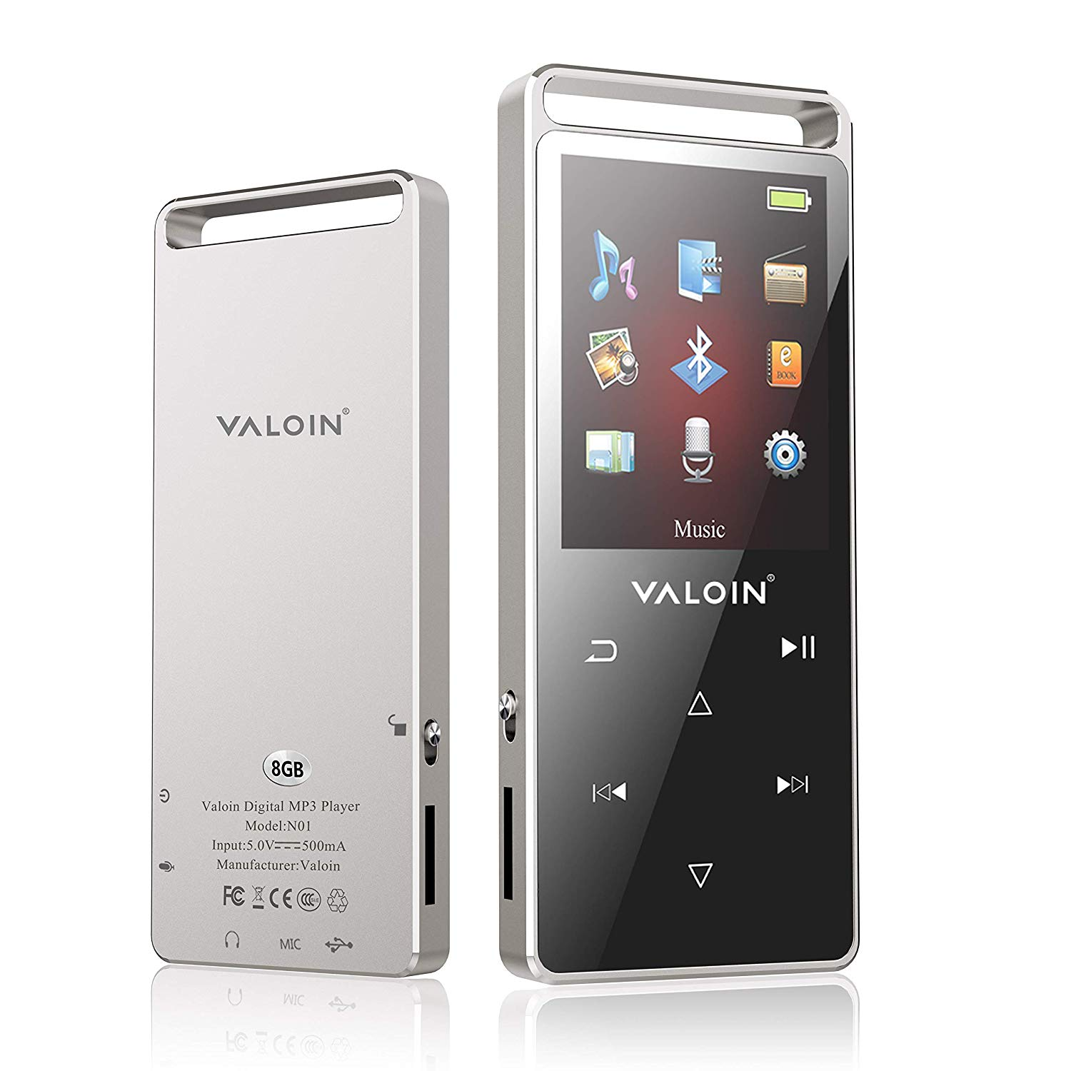 Valoin Bluetooth 4.0 MP3 Music Player,8G Lossless Sound Music Player Multifunction Bluetooth MP3 Player with Pedometer,Touch Buttons