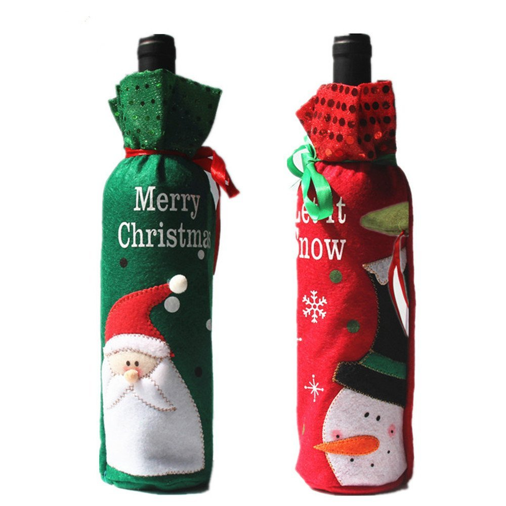 DEERWIN Christmas Wine Bottle Cover Bags Santa Snowmen Gift Bags Party Xmas Hotel Kitchen Table Decoration (Green)