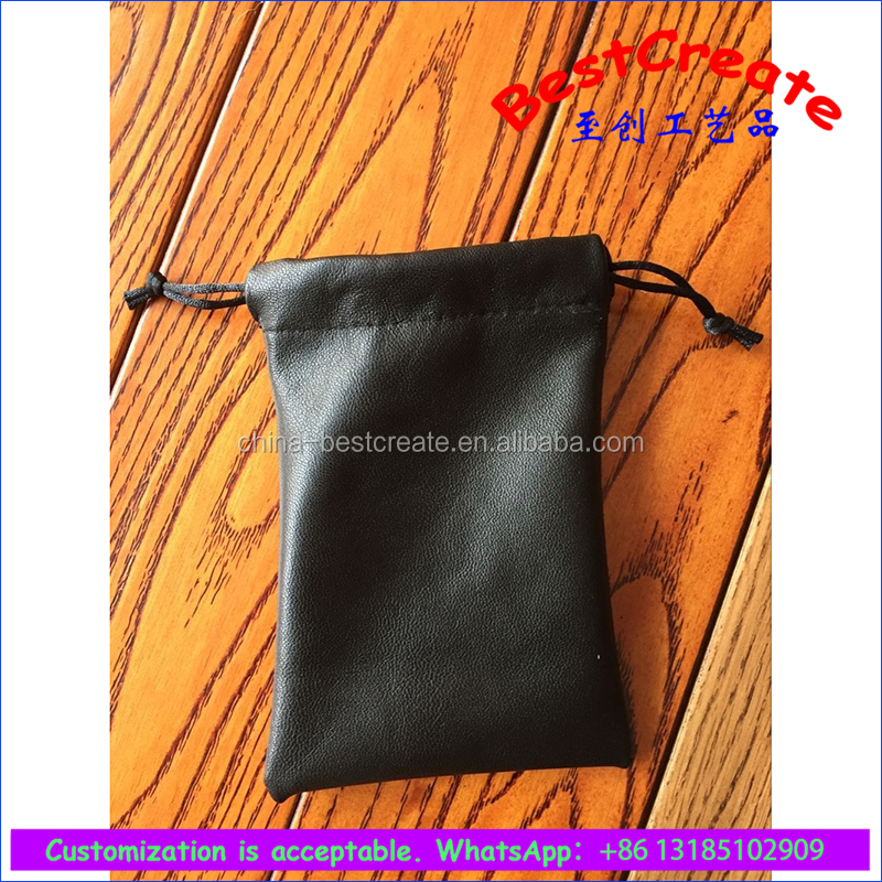 Custom Top quality soft Genuine leather drawstring pouches