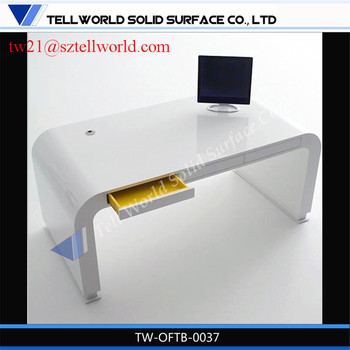 High End White Lacquer Marble Internet Cafe Gloss Computer Desk