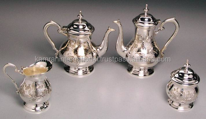 Decoration Brass Silver plated tea set of 4 Pcs