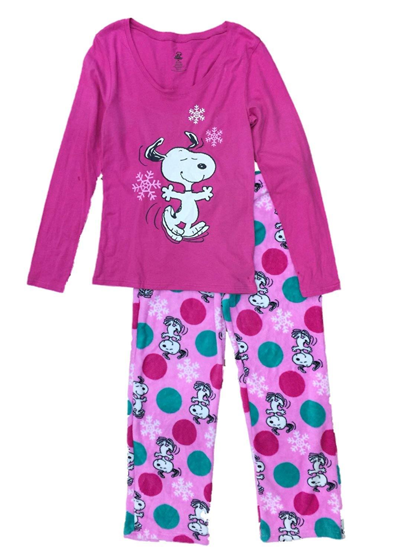 9f390ebf83 Get Quotations · Peanuts Womens Snoopy Dog Pajamas Pink Snowflake Christmas  Holiday Sleep Set