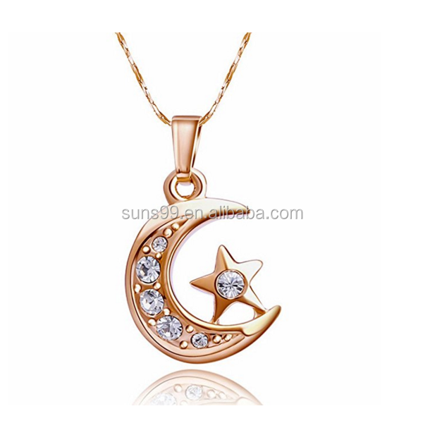 Moon Necklace For Women 18k Rose Gold Plated with Star pendant Necklaces Fashion Crystal Jewelry Gift